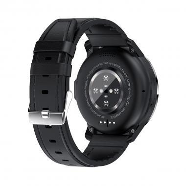 Часы с видеозвонком LEMFO LEMP черные кожа для мужчин
